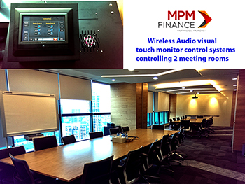 Touch monitor wireless audio visual control systems